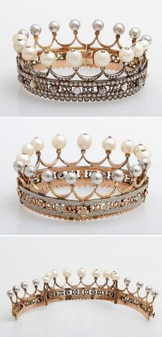 This is a coronet from the estate of the Countess Pauline von Württemberg,  it's made of 14k rose gold, silver, contains about 205 rose cut and old cut diamonds with total approx. 5 ct. Beside diamonds the piece also has 9 larger baroque natural pearls, 5 small pearls, and silvery balls. This coronet was from circa 1880.