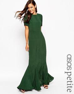 ASOS PETITE 3Os Seamed Short Sleeve Fishtail Maxi Dress