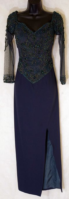 """$43.75 - Size: 12 – Vintage – Creative Creations – Multi-Colored – Beaded – Gown – """"Fabulous Find"""""""