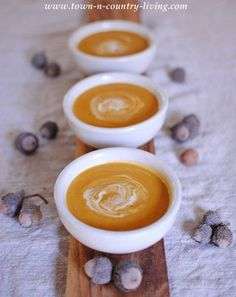 Savory Butternut Squash Soup via Town and Country Living...a little different than my normal recipe. I added a little brown sugar to give just a little sweetness to it. and used about 4 oz of cream cheese and milk rather than heavy cream. But delicious!