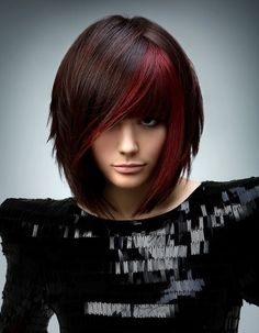 red bob hairstyle hair-styles... I am loving this!!! Maybe when my hair gets longer.