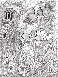Fish Ocean Castle Seahorse Starfish Water Coloring pages colouring adult detailed advanced printable Kleuren voor volwassenen
