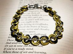 Hogwarts Collection  Mobius Chainmaille Bracelet  Hufflepuff by HowlOwl. Harry Potter