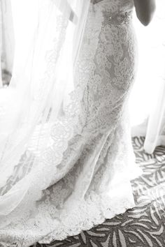 Alencon lace veil from Anne Barge