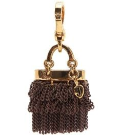 retired juicy couture  charms | RETIRED Juicy Couture GOLD BROWN CHAIN PURSE w/ J Heart Handbag CHARM ...