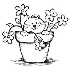 9612 – Potted Kitty Rubber Stamp – Sku: – Welcome Embroidery Patterns, Hand Embroidery, Hand Applique, Penny Black Karten, Coloring Book Pages, Cat Drawing, Digital Stamps, Easy Drawings, Doodle Art