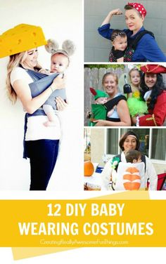 12 clever DIY baby wearing costumes for Halloween!: 12 clever DIY baby wearing costumes for Halloween! Mama Baby, Baby Kostüm, Baby Halloween Costumes For Boys, Toddler Costumes, Halloween Kids, Mom And Baby Costumes, Halloween Stuff, Baby Carrier Costume, Mardi Gras