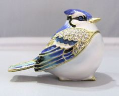 New Trinket Box Kings Point Pewter Painted Swarovski Crystals Blue Jay Bird at Keswick Jewelers in Arlington Heights, IL 60005, www.keswickjewelers.com