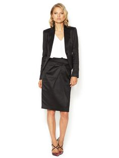 Matte Satin Pencil Skirt by Magaschoni at Gilt