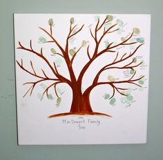 My family tree. We had a 90th birthday party for my grandfather so I had everyone stamp their thumbprint on a tree branch. I got the idea from Pinterest of course