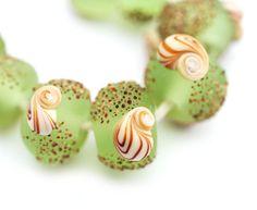Seaglass+look+green+lampwork+beads+set+organics++SRA+by+MayaHoney,+$18.50