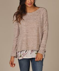 Mocha Floral Chiffon Open-Back Sweater