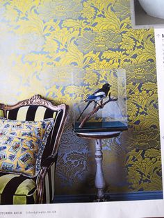 Tudor floral wall paper by Florence broad hurst @ signature prints Stuffed birds Places & Spaces Wallpaper Stencil, Windows Wallpaper, Wall Wallpaper, Modern Interior Design, Interior And Exterior, Inspiration Wall, Floral Wall, Wall Treatments, Mellow Yellow