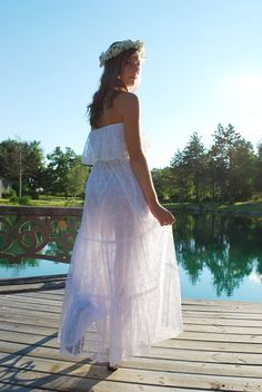 LACE Strapless Off Shoulder Tiered 70s Boho Outdoor Wedding Long Maxi Dress Custom Size Lace Colors