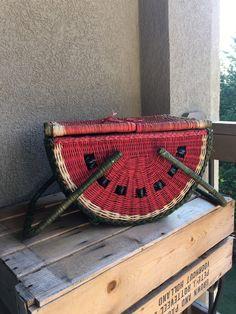 Vintage sandía Picnic cesta mimbre grande doble por MyVintageAlcove