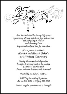 Th Wedding Anniversary Invitations Wording  ClassicBlack