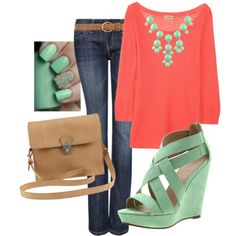 """""""Mint and Coral"""" by lklein23 on Polyvore"""