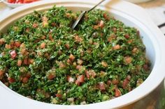 How to Make Tabbouleh Salad: The Original Lebanese Recipe ⋆ Easy Lebanese Recipes Easy Lebanese Recipes, Easy Salad Recipes, Wrap Recipes, Easy Salads, Veggie Recipes, Easy Meals, Syrian Recipes, Vegetarian Wraps, Vegetarian Recipes