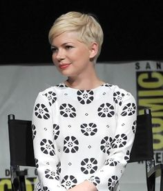 Michelle Williams with a pixie crop hairdo