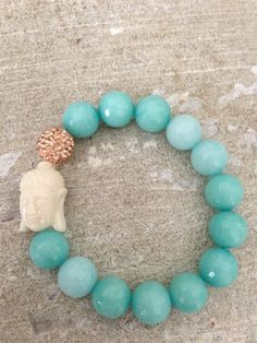 Agate and Rose Gold Buddha Bracelet by LindsayRaeDesigns on Etsy