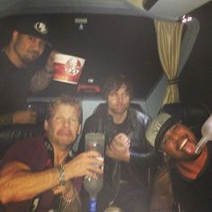 All kinds of crazy in this picture Chris Jericho, Dean Ambrose. Jey and Jimmy uso