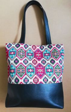 Handmade leather and Aztec tapestry tote Dimensions: wide x deep Artisan, Shoulder Bag, Boho, Trending Outfits, Unique Jewelry, Handmade Gifts, Leather, Etsy, Fashion