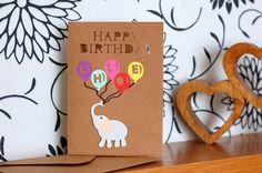 Personalised Birthday Card, Children's birthday card, Elephant, Happy Birthday, by KraziCrochet on Etsy