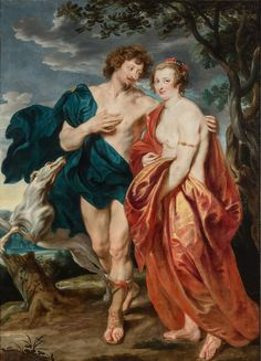 Sir Anthony van Dyck (Antwerp London) Double portrait of George Villiers, Marquess and later Duke of Buckingham and his wife, Katherine Manners as Venus and Adonis oil on canvas 87 ¾ x 64 x 163 cm. Anthony Van Dyck, Sir Anthony, Caravaggio, Rembrandt, Venus, Philippe De Champaigne, Baroque Painting, Costumes, Paintings