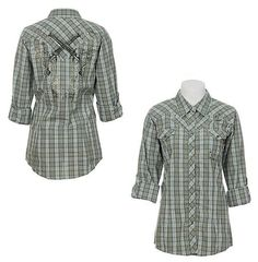 Show you're cowgirl tough with this olive plaid shirt from Wrangler's Rock 47 collection!  $49.95