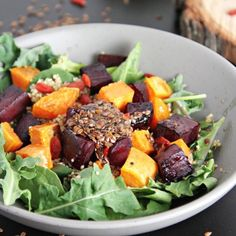 This BEST fall salad! Beets, sweet potato, quinoa, kale, and a fabulous honey olive oil dressing!