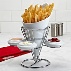 Ksp Diner French Fry Stand W/Dip Bowls Set/3 22 Cm Dia. X 23 Cm White | Kitchen Stuff Plus