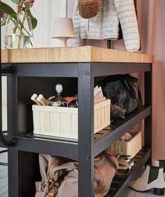Get creative with your kitchen island - IKEA Kitchen Island Hack, Ikea Showroom, Flexible Furniture, Ikea Home, Smart Tiles, Desk Storage, Creative, New Homes, Shelves