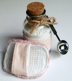 Spa Scrubbie and Tropical Bath Tea Soak.  Pin lace strap, cotton piece and ruffles to create this spa scrubbie, add the bag with the grinded ingredient, put the bath tea into the jar to finish off the wonderful set for spa. It will bring your comfort with little money.