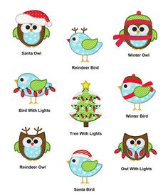 Christmas Winter Birds And Owls SET APPLIQUE by SewWithLisaB
