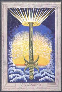 e3deb79d68fa4b Ace Of Swords from the Thoth Tarot deck, designed by Aleister Crowley and  painted by