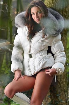 Fetish Fashion, Fur Fashion, Sexy Outfits, In Pantyhose, Nylons, Blake Lovely, Thigh High Boots Heels, Womens Parka, Fox Fur Coat