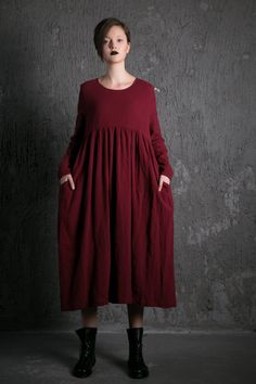 2015 New Red Long Dress maxi linen dress- I love this! But eould like it better if it were corduroy.