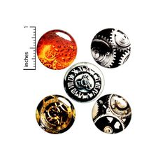 image 0 Steampunk Halloween, Steampunk Gears, Steampunk Design, Steampunk Cosplay, Funny Buttons, Cool Buttons, Bag Pins, Jacket Pins, Weird Gifts