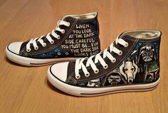 Customised star wars villains including kylo ren handpainted hitops shoes