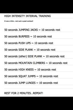 50 seconds is a long time!!  haha. Great quick routine you can do anywhere. HIIT, so easy to do at home too!