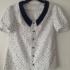 Tilly Buttons Mimi Blouse in navy nautical print.