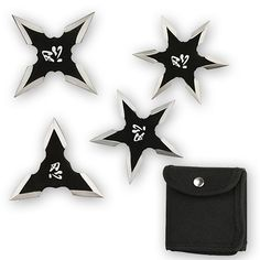 CLOSEOUT - Kung Fu Ninja Throwing Knives Set w/ Pouch - Set of 4 razor sharp shuriken stars with tactical carry pouch. Each 440 stainless steel star has a black finish with bright silver edges and painted characters of the Orient. Shuriken, Types Of Knives, Knives And Swords, Guerrero Ninja, Asian Lamps, Ninja Weapons, Zombie Weapons, Ninja Gear, Paper Targets