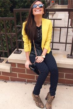 Yellow blazer and leopard shoes