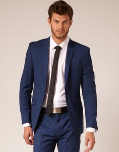 Blue grey suit with brown belt and shoes! #belfiorebridal