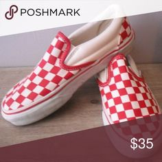 203c0298f6 Red N White Checkered Vans Good condition Vans Shoes Sneakers Men s Vans