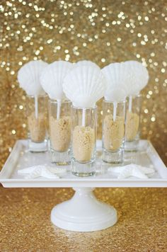 12 Shimmer Sea Shell Chocolate Lollipops Beach Wedding Reception Party Favors Mermaid Under the Sea Chocolates