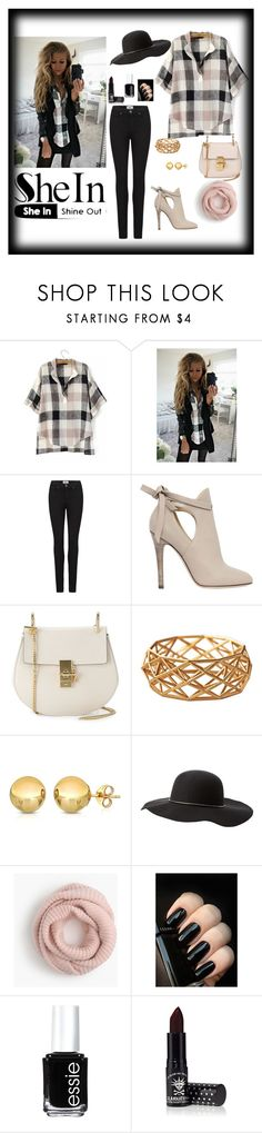 """""""SheIn Shine Out"""" by ajsa-97 ❤ liked on Polyvore featuring Paige Denim, Jimmy Choo, Chloé, Charlotte Russe, J.Crew, Essie and Manic Panic NYC"""