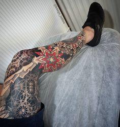 The most incredible blackwork and colourful mandala sleeve tattoos you