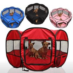 """The 45""""Dog/Cat Exercise Playpen Travel Tent highlights removable top and base, eight cross section windows, two zippered side entryways, and side pockets. It gives your pooches a kept zone to play while you go about doing your day by day routine effortless. Put toys, nourishment, water, and beds so your pet has a spot"""