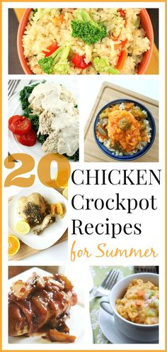 20 Crockpot Chicken Recipes for Summer Round Up - Enjoy summer with this delicious round up of Chicken Crockpot Recipes!